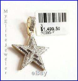 Solid Real 10k Yellow Gold Diamond Star Pendant Men's Ladies Charm 1 Inch SALE
