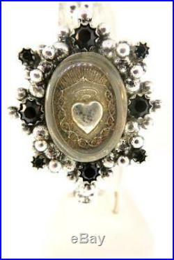 Virgin Saints and Angels Oval Sacred Heart Cuff Silver & Jet Brand New on SALE
