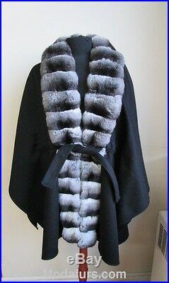 Women's Brand New 100% Cashmere Cape Wrap with Chinchilla Fur Collar SALE