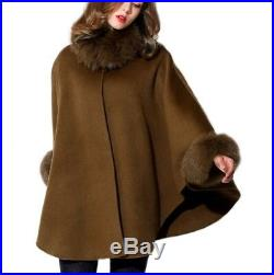 Women's Brand New Cashmere Wool Wrap Cape Brown Fox Fur CLEARANCE SALE