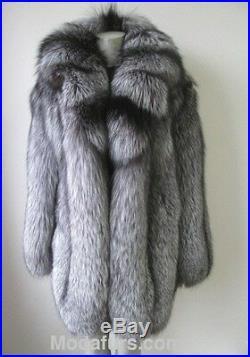 Women's Sz 14 Brand New Real Silver Fox Fur Jacket Coat CLEARANCE SALE Ladies