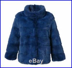 Women's Sz 6 Brand New Royal Blue Mink Fur Jacket Coat BLOW OUT SALE