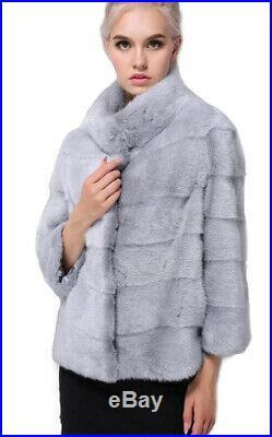 Women's Sz 6 Brand New Sapphire Mink Fur Jacket Coat BLOW OUT SALE