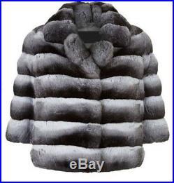 Women's Sz 8 Brand New Genuine Real CHINCHILLA Fur Jacket Coat SALE