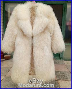 Women's Sz 8 Brand New Natural Mongolian Lamb Fur Coat SALE