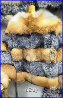 Women's Sz S Brand New Natural Silver & Red Fox Fur Bolero Jacket CLEARANCE SALE