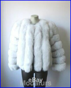 Women's Sz Small Brand New Norwegian Blue Fox Fur Jacket Coat Ladies SALE SALE