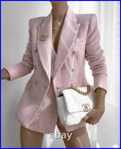 Zara Pink Textured Tweed Check Blazer Jacket Size Xs M 3130/651 24hr Sale